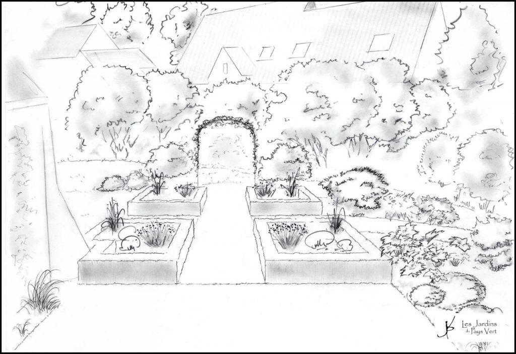 Croquis d'un jardin et d'une pergola réalisé par les Jardins du Pays Vert - Ath