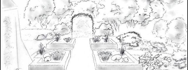 Croquis d'un jardin et d'une pergola réalisés par les Jardins du Pays Vert – Ath