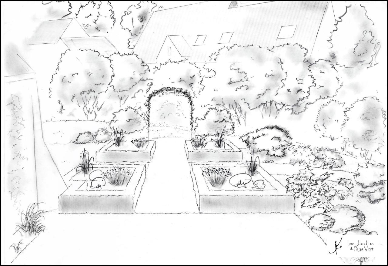 croquis pergola jardin du pays vert